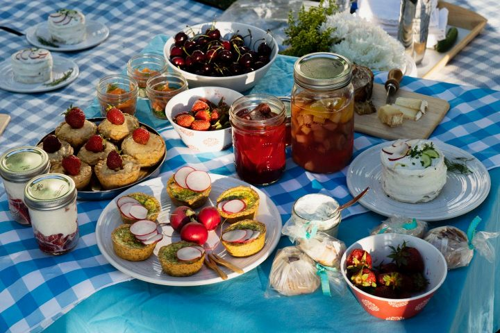 Midsommar picnic table with Scandinavian food.